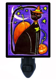 cat decor bathroom - Halloween Night Light - Cat and Pumpkins - Black Cat * For more information, visit image link. (This is an affiliate link) Cat Decor, Halloween Night, Night Light, Pumpkins, Image Link, Batman, Lights, Superhero, Bathroom