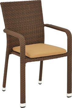 Auf diesem Gartenstuhl von AMBIA können Sie Grillabende und sommerliche Kaffeekränzchen besonders genießen! Das stabile Aluminiumgestell ist mit einem robusten Kunststoffgeflecht bespannt. Das Sitzpolster in einem hellen Braunton macht das Sitzen besonders komfortabel. Dieser Gartenstuhl ist einfach praktisch und unverzichtbar für alle, die den Sommer in vollen Zügen genießen wollen!