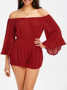 Off The Shoulder Ruffle Trim Bell Sleeve Romper - RED M