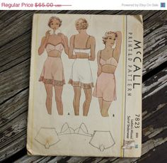 55% AnnualPatternSale McCall 7823 1930s 30s Lingerie Bra French Knickers Panties Underwear Step Ins Tap Pants Vintage Sewing Pattern Size 18
