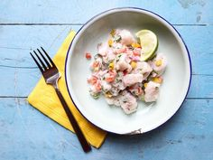 "In this *ceviche, raw fish ""cooks"" not in the usual citrus juice, but in plain old white vinegar."