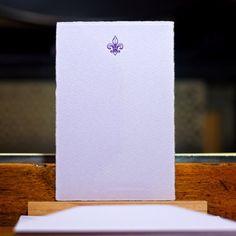 Fleur de lis letterpress flat note