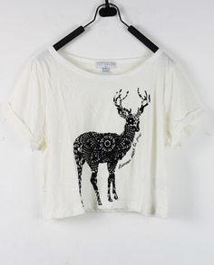 #SheInside Deer White Round Neck Short Sleeve Crop T Shirt