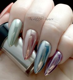 Various gel polishes chromed with Chromageddon real silver powder by Social Claws. www.socialclaws.com