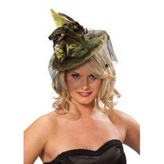 Mini Chapeau Sorcière Vert Deluxe avec Voilette Femme, Halloween, fêtes.