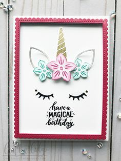 I'm here today to share some birthday cards using this wonderful Magical Unicorn stamp set by Pink Fresh Studio. Mystical creatures are taking over – mermaids and unicorns! Unicorn Birthday Cards, Kids Birthday Cards, Birthday Greeting Cards, Unicorn Party, Fairy Birthday, Unicorn And Fairies, Magical Unicorn, Homemade Birthday Cards, Homemade Cards