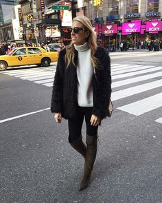 Today's #ootd in @aldo_shoes, @bymalenebirger faux fur coat, @jbrandjeans sweater. Thanks for having us The Lion King  #mindbodyswag #nyc #thelionking