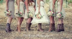 Bride-and-her-bridesmaids-cowboy-style  Don Kaizen Photography  http://www.donkaizenphotography.com/2013/10/brian-and-saras-wedding-at-dubost-winery.html