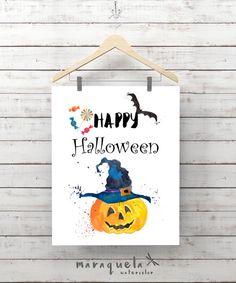 HAPPY HALLOWEEN HAPPY HALLOWEEN by Maraquela. Watercolor illustration Printable Wall Art Halloween Download Decor, Orange pumpkin, Witch hat, halloween party bats. trick or treat
