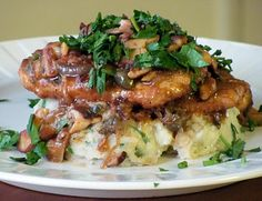 """Chick'n"" and Mushroom Piccata with Creamy Garlic and Herbed Mashed Potatoes"