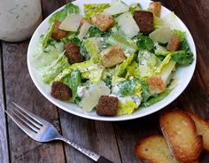 Romaine Salad with Creamy Gorgonzola and Parmesan Dressing delicious Salad Dressing Recipes, Salad Recipes, Salad Dressings, Salad Bar, Soup And Salad, Romaine Salad, Rabbit Food, Salad Sandwich, Food And Drink