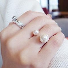 Fashion Simulated White Pearl Ring for Women Gold Silver Plated Ajustable Rings Wholesale