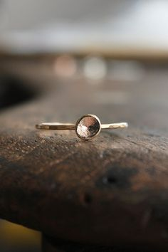 Organic 14k gold pebble ring
