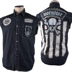 Custom Wornstar Skull Stripes Sleeveless Shirt WSCV-264 MTO