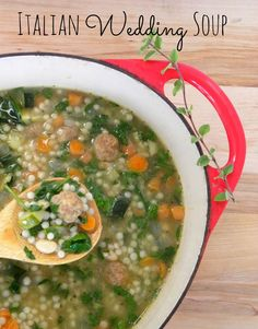 Perfect for a chilly Fall day — Italian wedding soup with turkey meatballs — SO much better than from a can, and better for you, too!