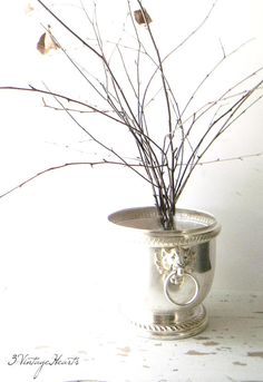 Antique Silver Champagne Bucket. French Farmhouse Holiday