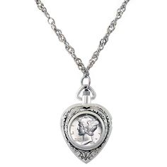 American Coin Treasures tone Year To Remember Dime Coin Heart Watch Necklace (1934) Women's