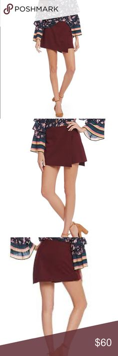💗final price drop NWT Gianni Bini faux wrap skort NWT Gianni Bini faux wrap skort in burgundy such a fun color and versatile piece for your wardrobe. Can be easily dressed up or down for winter or spring.   Bought for an event that i ended up not going to.   Final price drop.  Bundle to save :) Gianni Bini Skirts