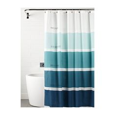 Simons Maison Shades of blue shower curtain ($16) ❤ liked on Polyvore featuring home, bed & bath, bath, shower curtains and blue shower curtains