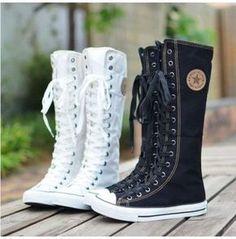 Knee High Converse, Knee High Sneakers, High Shoes, Knee High Boots, Cute Converse, Calf Boots, Converse Boots, Rock Boots, Shoe Boots