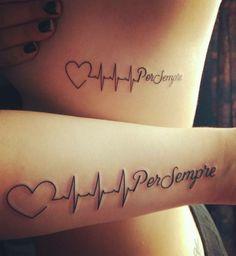 Tattoo particolati piccoli per donna e uomo, scritta Per sempre con un cuore