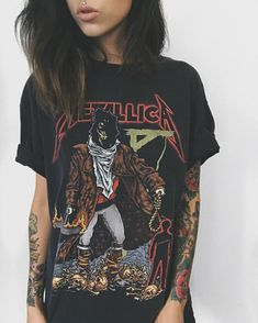 See previous photo f. grunge, rocker chic, etc одежда. Cute Summer Outfits, Cool Outfits, Fashion Outfits, Tomboy Outfits, Punk Fashion, Lolita Fashion, Rockers, Looks Teen, Metallica T Shirt