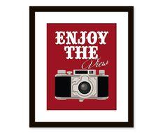 Retro artvintage camera arttypographic art by etchedandsketched, $14.00