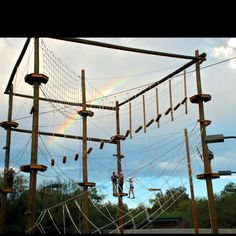 Ropes course with rainbow