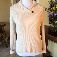 """Beautiful cream color sweater Lovely and comfortable cream colored sweater top with one decorative button. 100% cotton, 26"""" long and 17"""" across the back. Excellent condition. Sweaters"""