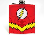 DC Flash Hip Flask Hip Flask  6oz Flask  Mens Flask Groomsen Favor Geekery Accessories DC Comics Superhero barry allen Wedding Gift Nerd