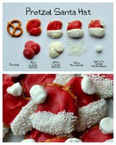 Chocolate covered pretzel  Santa hats