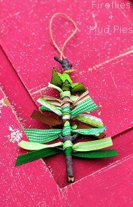 Ribbon Tree Homemade Christmas Ornaments are so easy to make- what a great way to use up your scraps, too!