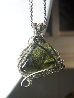 Moldavite  wire wrap  necklace  pendant   by CoyoteRainbow on Etsy, $80.00