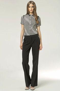 Pantalons large, à pinces, noir.