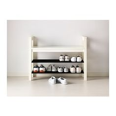 """Tyler could build a sturdier version of this.... HEMNES Bench with shoe storage, white - 33 1/2x12 5/8 """" - IKEA"""