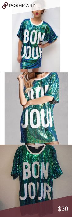 💚💙BONJOUR SEQUIN T-SHIRT DRESS💚💙 Forever 21's vendor Hot and Delicious  Green/Blue graphic sequin T-shirt Dress! Worn once. Excellent condition! Fits small to medium Forever 21 Dresses Mini