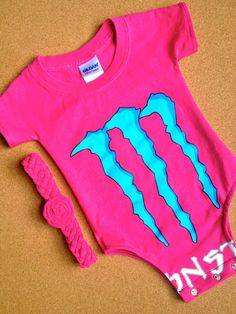 Up-Cycled Monster Energy Drink T-Shirt Onesie With Headband, $23.50