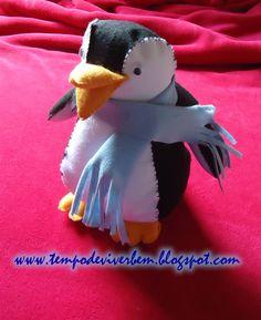 T E M P O D E V I V E R B E M: PINGUIM EM TECIDO / FELTRO Diy Tutorial, Free Pattern, Dinosaur Stuffed Animal, Sewing, Toys, Animals, Patterns, Craft Ideas, Diy And Crafts