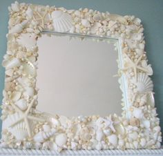 Add shells from your last mermaid adventure to add some magic to any mirror. #finfun #mermaids