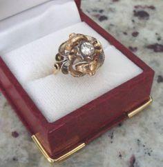EUROPEAN ANTIQUE 14K YELLOW GOLD SIZE 5.5 LADIES .41ct ROUND DIAMOND RING DECO