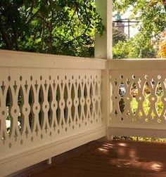Durabrac Sawn Balusters are available in three heights. Top and Bottom rails are available, as well as assembled custom sections. Porch Balusters, Front Porch Railings, Balustrades, Victorian Porch, Victorian Farmhouse, Victorian Homes, Cottage Exterior, Exterior Trim, Barbecue Garden