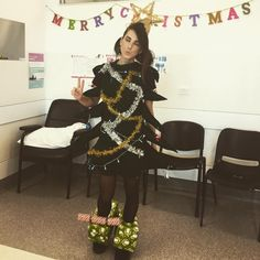 Inspiration & Accessories: DIY Christmas Tree SantaCon Costume Idea - #workingchristmasday #nurselife #christmas #christmastreecostume