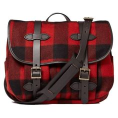 Filson Plaid Wool Field Messenger Bag ❤ liked on Polyvore featuring bags, messenger bags, plaid messenger bag, red messenger bag, filson bags and red plaid bag