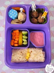 Rainbow bento. Goodbyn lunchbox, silicone wrap band, mini dots container, and food picks all from www.thelunchboxqueen.co.nz