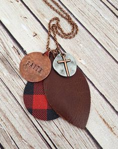 Hand Stamped Faith Necklace, Buffalo Plaid Leather Necklace, Leather Pendant Necklace, Custom Hand Stamped Necklace by whiteshedcreations on Etsy