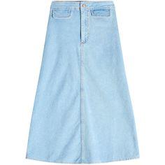 M i H Byron Denim Skirt ($245) ❤ liked on Polyvore featuring skirts, blue, knee length a line skirt, knee length skirts, blue denim skirt, blue skirts and denim skirt