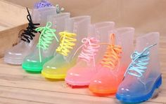 New Women Ankle Lace-Up transparent Rubber Jelly candy color flat for rain boots
