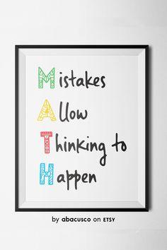 Mistakes in Math Poster Classroom Motivational Posters, Classroom Quotes, Teacher Quotes, Math Teacher, Teacher Shirts, Modern Classroom, Classroom Board, School Classroom, Future Classroom