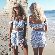 Off-shoulder Backless Crop Top Sexy Shorts Flower Print Two Pieces Set