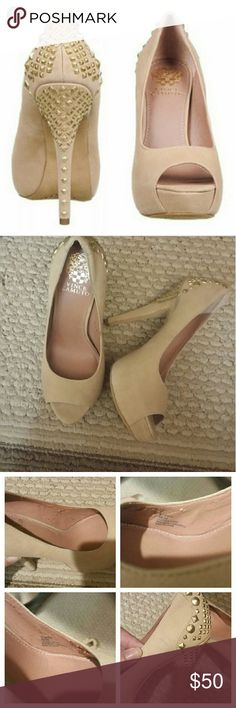 """VINCE CAMUTO MISSIE PEP TOE PUMP Beautiful and still on trend!  Streamlined studs dance down the heel of a precocious peep-toe pump boosted by a chic covered platform. Leather upper,  heel height is 5"""" with a 1"""" platform. Nude with gold studs, all studs are there, inside lining has some tears, not visible when on see pic#3, some scuffs and marks see pic#3, minimal wear to heel and soles. Great pre-owned condition. Vince Camuto Shoes Heels"""